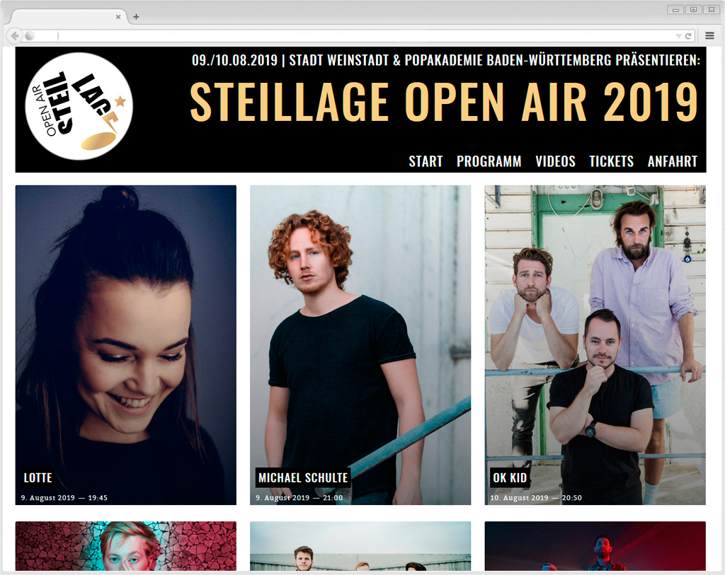 Website Steillage Open Air